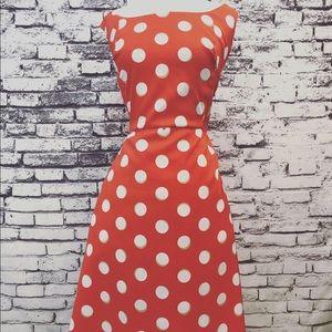 AGB Retro Polka Dot Orange White A-Line Dress